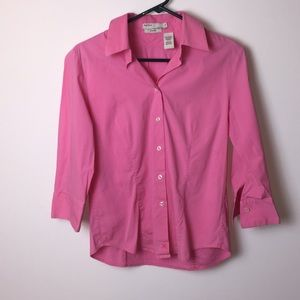 Perry Ellis pink button down top. Si…